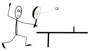 Pan-Pong-Spieler am Tisch